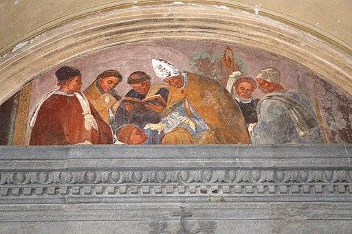 Luca Signorelli, le storie di San Benedetto, Scena 29, Come Benedetto resuscita un fanciullo (perduto parzialmente)