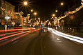 Streets with festive lighting, Diwali Leicester - Belgrave Road England 2009.jpg