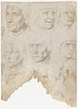 Studies of ten (?) heads and two ears (recto); Studies of three figures and a head (verso) MET DP167069.jpg