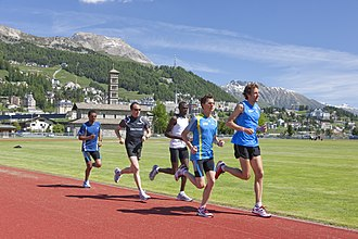 Effects of high altitude on humans - Athletes training at high altitude in St. Moritz, Switzerland (elevation 1,856 m or 6,089 ft).
