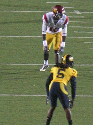 Damian Williams (wide receiver) - Williams (top) is covered by California cornerback Syd'Quan Thompson during an October 2009 game.