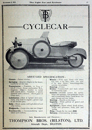 T.B. (Thompson Brothers) - Advert in The Light Car and Cyclecar,  8 November 1919
