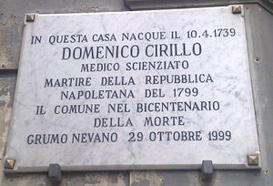 Domenico Cirillo - Commemorative plaque on the building where he was born, in Grumo Nevano