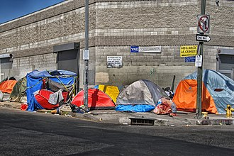 Economic inequality - Tents of the homeless  on the sidewalk in Skid Row, Los Angeles.