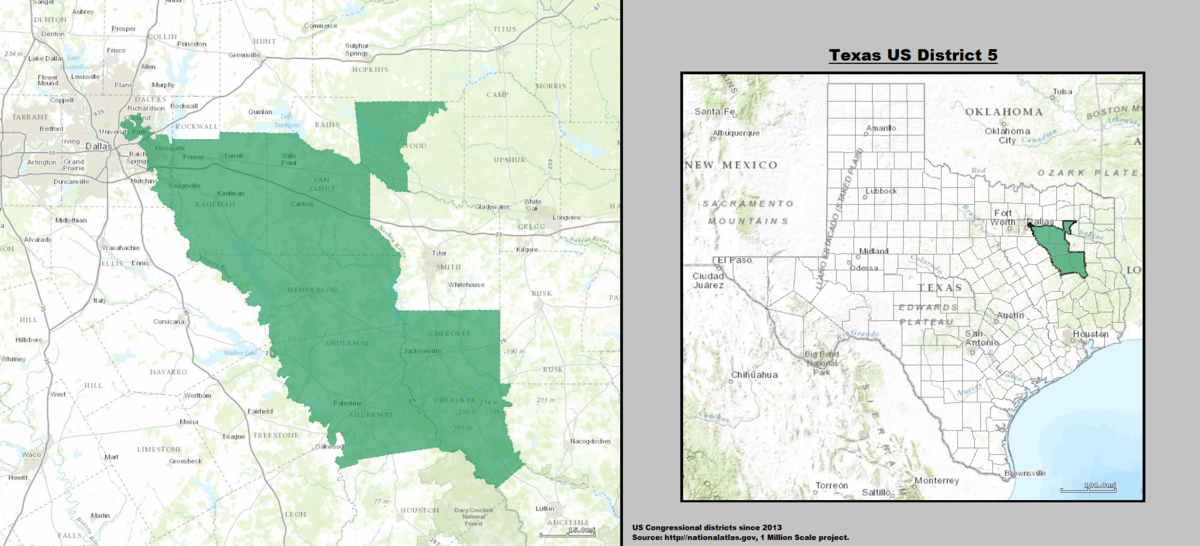 Texass 5th Congressional District Wikipedia - Us Map Texas