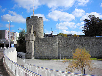 Southampton town walls - Arundel Tower on the north-east corner of the circuit