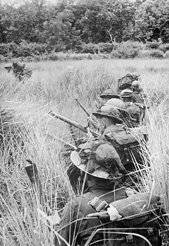 29th Infantry Brigade (United Kingdom) - Men of the 2nd Battalion, Royal Welch Fusiliers use paddy fields for cover as they approach Japanese positions around Pinbaw, 1944.