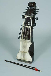 Sarangi bowed, short-necked string instrument from South Asia