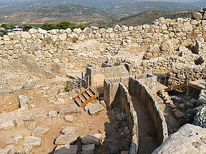 Rubble masonry - Image: The Granary and Grave Circle A in Mycenae