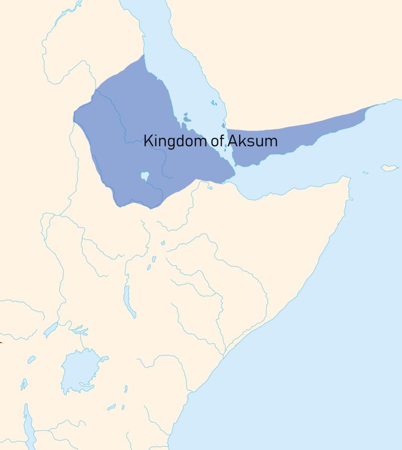 Aksum, se muestra en azul