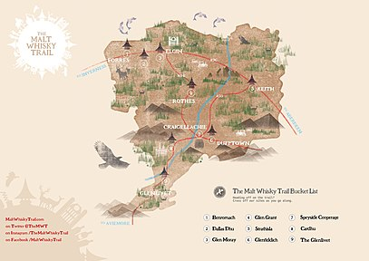 Scotland's Malt Whisky Trail - Wikipedia on scotland castles map, scotland lochs map, scotland golf map, scotland hostels map, scotland agriculture map, scotland airports map, scotland attractions map, scotland whisky regions map, scotland mountains map, scotland ferries map,