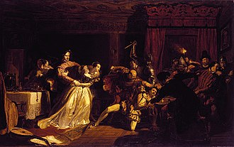 Dirleton Castle - The Murder of David Rizzio, by Sir William Allan, depicting Lord Ruthven and others killing the Queen's secretary in her presence