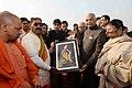 The President, Shri Ram Nath Kovind during his visits to Triveni Sangam and Lette Hanumanji Mandir, at Allahabad, in Uttar Pradesh (1).jpg