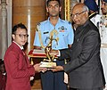 The President, Shri Ram Nath Kovind presenting the Arjuna Award, 2017 to Sub. L. Debendro Singh for Boxing, in a glittering ceremony, at Rashtrapati Bhavan, in New Delhi on August 29, 2017.jpg