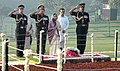 The President, Smt. Pratibha Devisingh Patil paying homage at the Samadhi of Former Prime Minister, Late Smt. Indira Gandhi, at Shakti Sthal on the occasion of her 23rd death anniversary, in Delhi on October 31, 2007.jpg