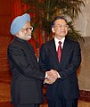The Prime Minister, Dr. Manmohan Singh being welcomed by the Chinese Premier, Mr. Wen Jiabao, at a Welcome Ceremony in Great Hall of People, Beijing in China on January 14, 2008.jpg