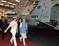 The Prime Minister, Shri Narendra Modi at the INS Vikramaditya, on December 15, 2015. The Chief of Naval Staff, Admiral R.K. Dhowan is also seen.jpg
