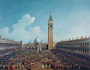 Giovanni Battista Cimaroli - The Running of the Bulls in Plaza San Marco. Venice