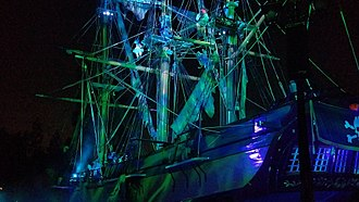 Fantasmic! - The Sailing Ship Columbia during the Pirates of the Caribbean scene.