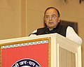 The Union Minister for Finance, Corporate Affairs and Defence, Shri Arun Jaitley addressing at the launch of the 'Pradhan Mantri Jan Dhan Yojana (PMJDY)', in New Delhi on August 28, 2014.jpg