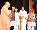 "The Vice President, Shri M. Venkaiah Naidu lighting the lamp at an event to release the book titled ""Ankaha Lucknow"", authored by Shri Lalji Tandon, in Lucknow, Uttar Pradesh.JPG"