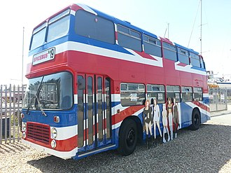 """Island Harbour Marina - The """"Spice Bus"""", from the film Spice World, is on permanent display"""