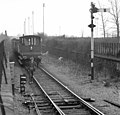 The guard goes ahead on foot to supervise the movement at this junction towards the chord down to the ex-GCR line, Nigel Tout, 30.12.75.jpg
