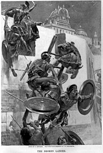 The ladder breaks stranding Alexander and a few companions within the Mallian town by Andre Castaigne (1898-1899).jpg