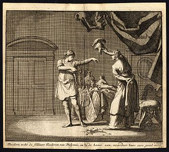 Theodora (Handel) - Theodora and Didymus exchange clothes in the brothel - antique print