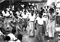 Thingyan dance in Sittwe, 1945.jpg