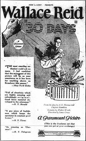 Thirty Days (1922 film) - Advertisement