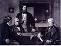 Three Fellows of the Royal Society offering the presidency o Wellcome L0022806.jpg