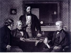 Michael Faraday - Three Fellows of the Royal Society offering the presidency to Faraday, 1857