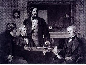 Michael Faraday - Three Fellows of the Royal Society offering the presidency to Faraday, 1857