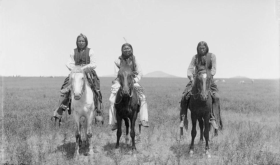 Three mounted Comanche warriors - 1892
