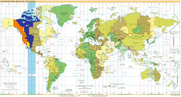 UTC-07: blue (January), orange (July), yellow (all year round), light blue (sea areas) Timezones2008 UTC-7.png