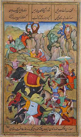 Тимур побеждает султана Дели Насир ад-Дина Махмуда, зимой 1397—1398, живопись датированная 1595—1600 годами.