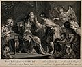 Tobias anoints his father's eyes with fish bile. Engraving b Wellcome V0034457.jpg