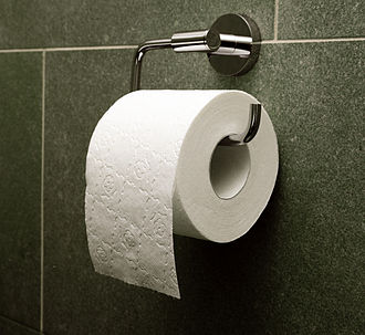 Toilet roll holder - A classic horizontal-axle, wall-mounted toilet roll holder