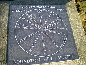 Toposcope - Slate toposcope at the top of Roundton Hill, with North prominently marked.