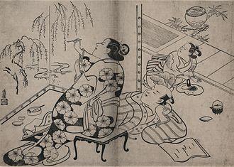 Torii school - Torii Kiyonobu - Courtesan painting a screen