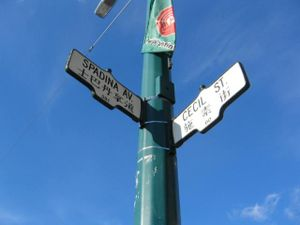 Spadina Avenue - Spadina and Cecil intersection, street signs