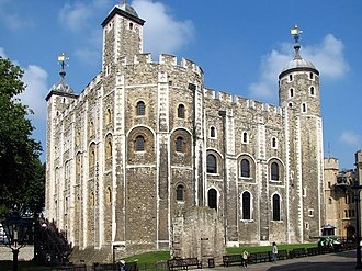 White Tower (Tower of London) - The White Tower seen from the southeast. To the fore is the projection housing the apse of St John's Chapel.