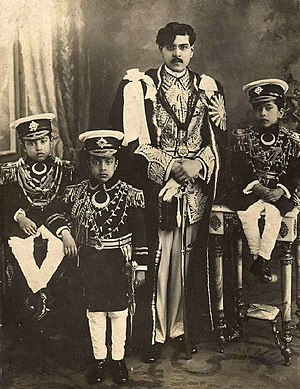 Mahendra of Nepal - King Tribhuvan and his 3 elder sons; Mahendra (standing), Vasundhara and Himalaya (sitting) in 1932
