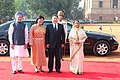 Tsakhiagiin Elbegdorj and his wife Mrs. Bolormaa Khajidsuren being welcomed by the President, Smt. Pratibha Devisingh Patil and the Prime Minister, Dr. Manmohan Singh at the ceremonial reception at Rashtrapati Bhavan (2).jpg