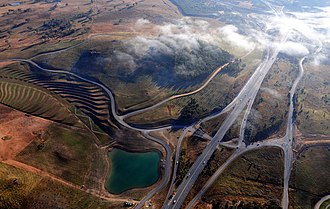 Highways in Australia - Aerial view of Tuggeranong Parkway in the Australian Capital Territory.