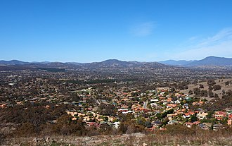 Tuggeranong - The view from Mount Wanniassa, looking down into the Tuggeranong Valley in 2018