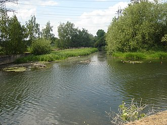 Turkey Brook -  The confluence of Turkey Brook and the River Lee Navigation below Enfield Lock