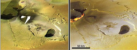 Active lava flows in volcanic region Tvashtar Paterae (blank region represents saturated areas in the original data). Images taken by Galileo in November 1999 and February 2000. Tvastarpic2.jpg