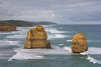 Stack (geology) - Two of the Twelve Apostles stacks in Victoria, Australia